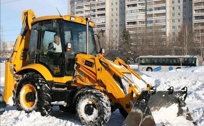 уборка снега, аренда погрузчика, аренда спецтехники, услуги спецтехники, рытье котлована, JCB